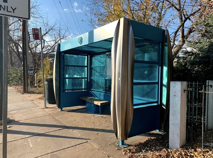 West Colfax BIPV Bus Stop Shelter | Daytime Teal