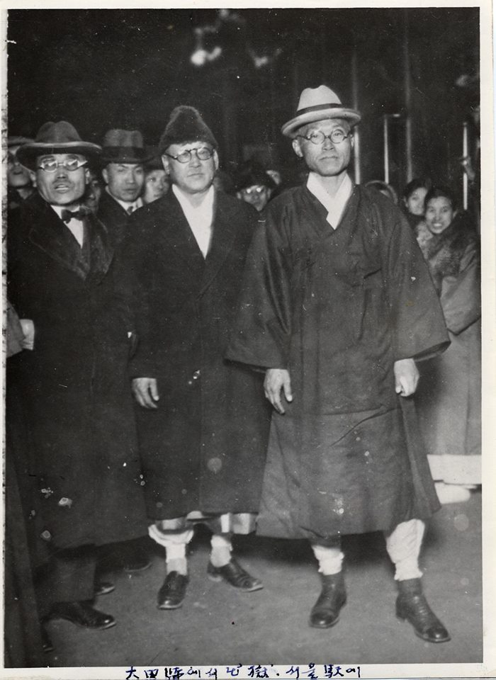 February 1935 | Dosan leaving Daejon train station after being released from 3 and a half years in prison. He would be arrested again in a couple years.