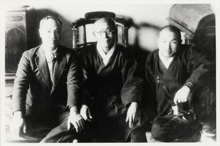 This picture of Yo Un Hyung, Dosan, and Cho Man Sik was taken when Dosan was released from Taejon Prison in 1935. Dosan had been arrested in Shanghai in 1932 connected to Yun Bong Kil bombing at Hongkew Park. He was sentenced by Japanese in 1932 for violating Japanese Preservation of Peace Laws.