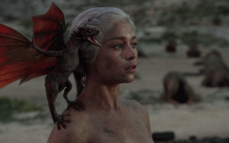 The Khaleesi with her newborn dragons | HBO