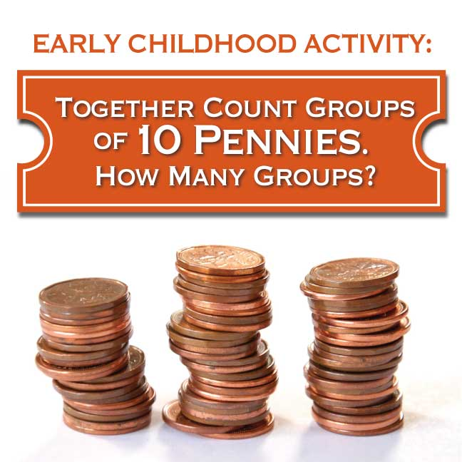 Together count groups of ten pennies.  How many groups?