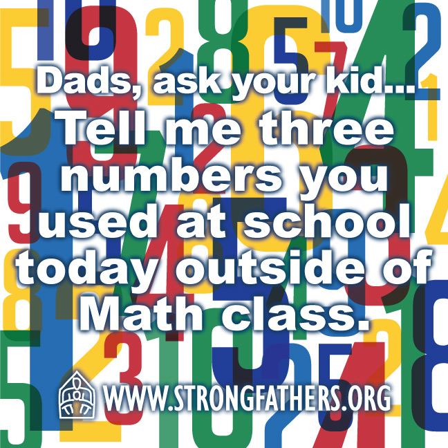Tell me three numbers you used at school today outside of math class.