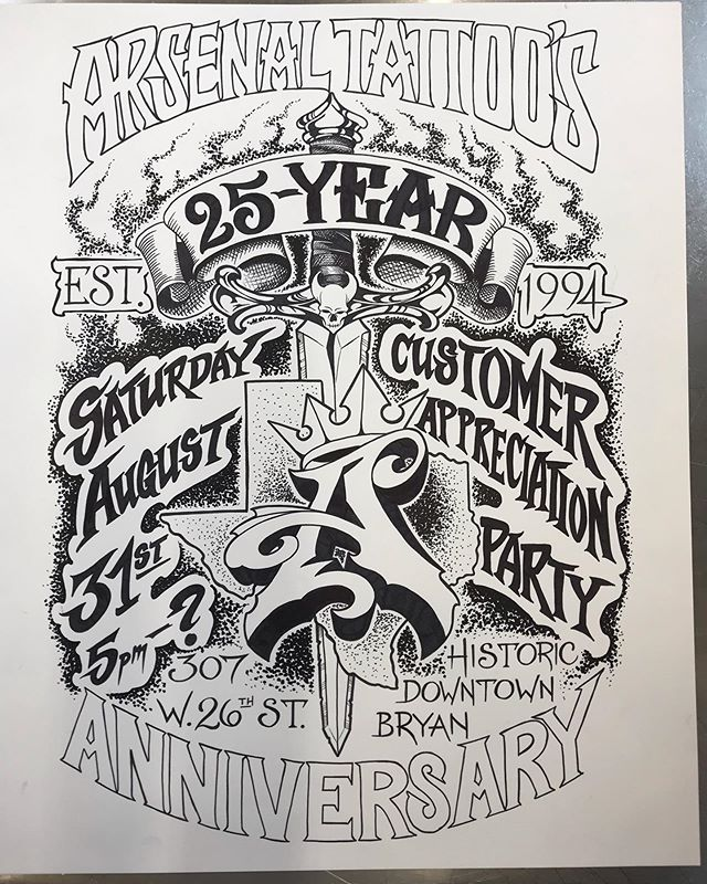 Having a party on August 31st celebrating 25 years of tattooing the Brazos Valley! All are welcome! Food, refreshments, music and fellowship! Thanks to all our wonderful clients that have made this possible! And a HUGE thank you to @afl1994 who started it all and to whom I owe it all✊🏼
