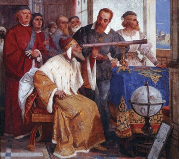 Galileo demonstrates his telescope for Venetian patricians. The spyglass was an instant sensation and transformed astronomy.