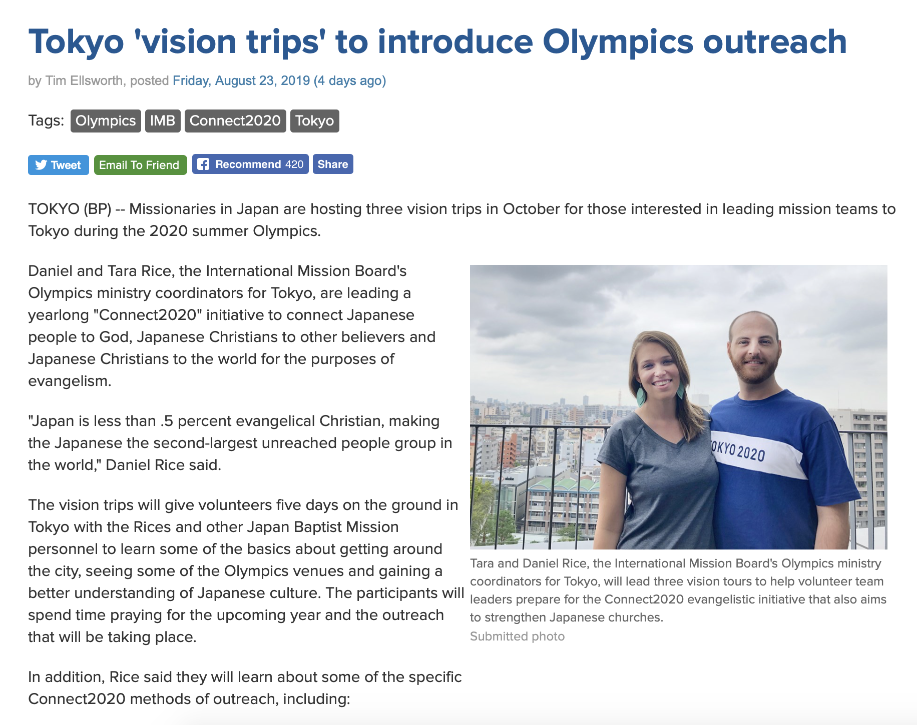 Baptist Press Article on Vision Tours
