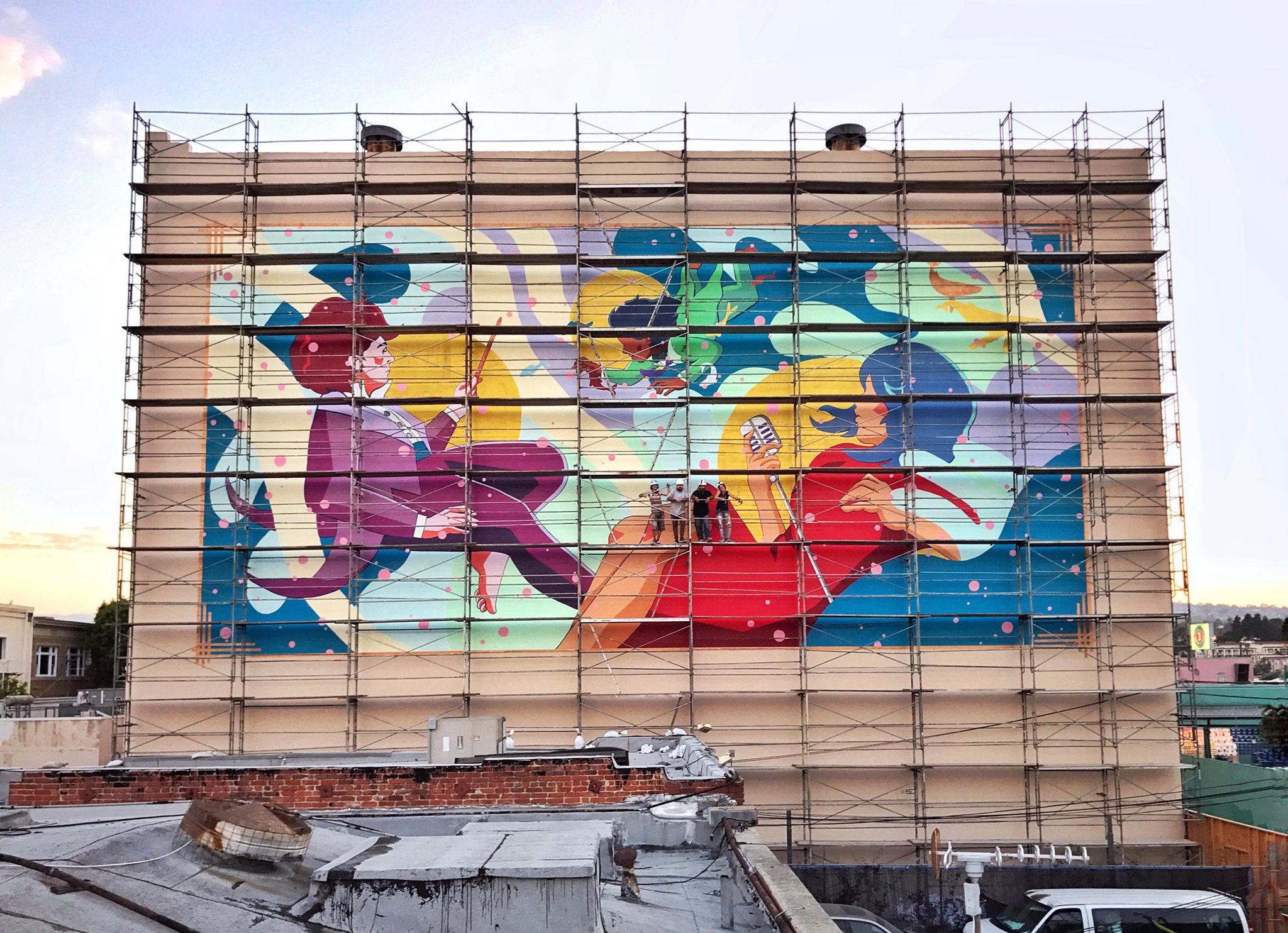 The huge mural at Warner Grand I worked on with Kent Yoshimura.