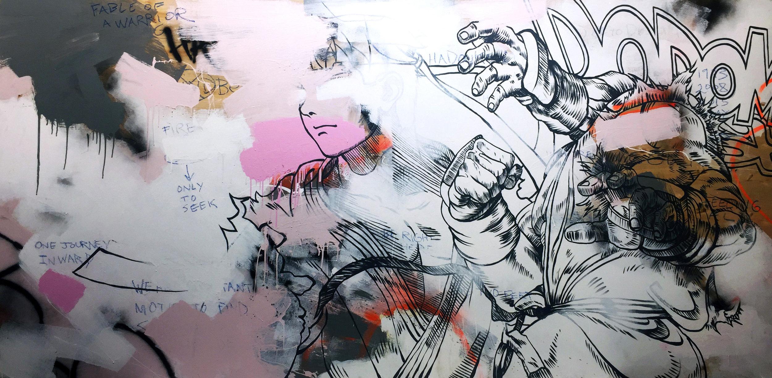 Hadouken, 9'x4', Painting on Found Wood Panel, 2017, $7000