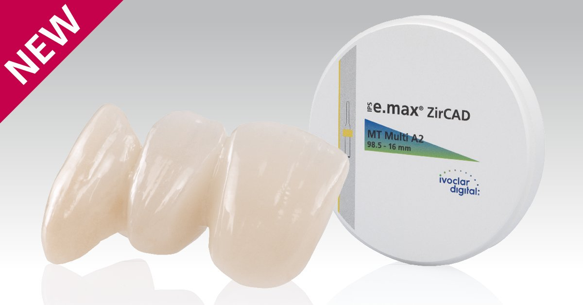 IPS ZirCAD - IPS e.max ZirCAD MT is the creative one in the portfolio. The material combines sound mechanical stability (850 MPa1) with impressive esthetic properties as a result of an optimized raw material mixture. It lends itself to various processing options and offers a high degree of flexibility. The A–D shade system enables an efficient fabrication of esthetic monolithic or layered restorations. The A–D Colouring and Effect Colouring Liquids are designed for maximum customization prior to sintering. IPS e.max ZirCAD MT is available as a disc with a diameter of 98.5 mm.