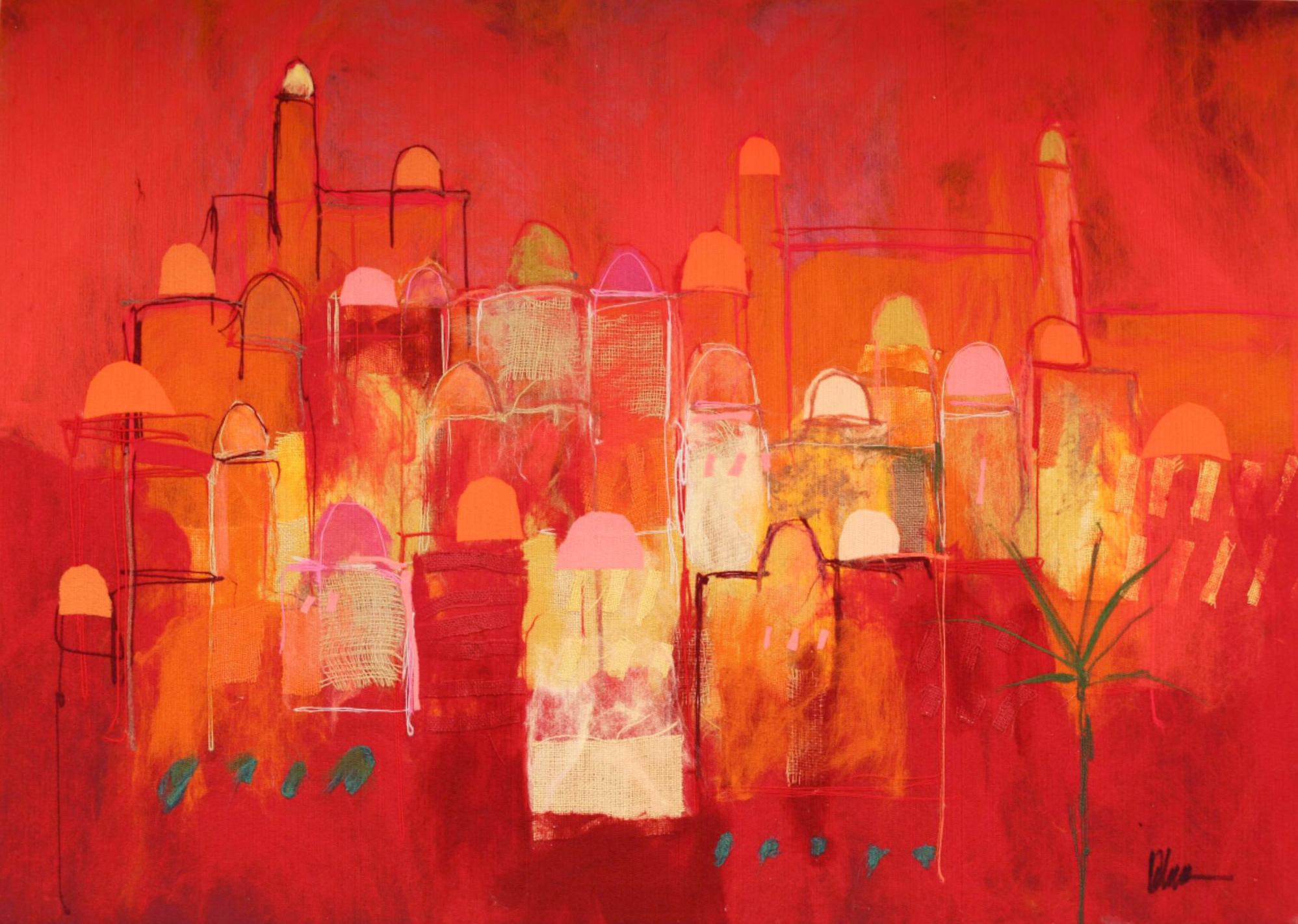 "JOHANAN HERSON   Small Jerusalem II Original Acrylic Fiber   Soft Art 39"" H x 55"" W"