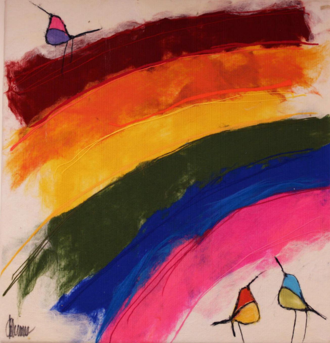 "JOHANAN HERSON   Rainbow Birds Original Acrylic Fiber   Soft Art 35"" H x 38"" W"