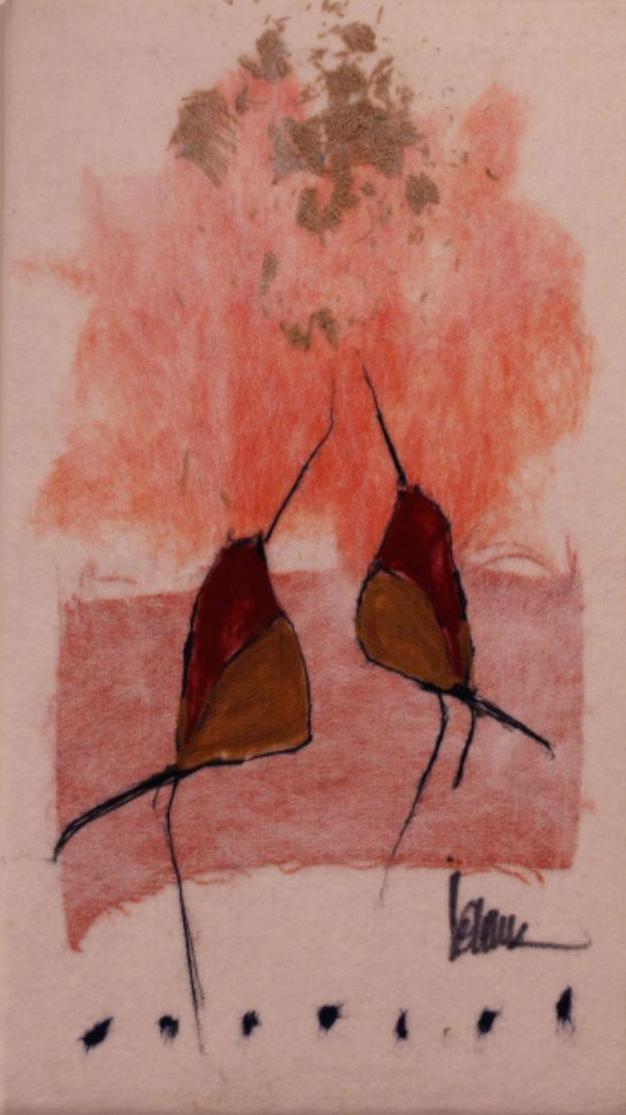 "JOHANAN HERSON   Love Birds II Original Acrylic Fiber   Soft Art 40"" H x 36""W"