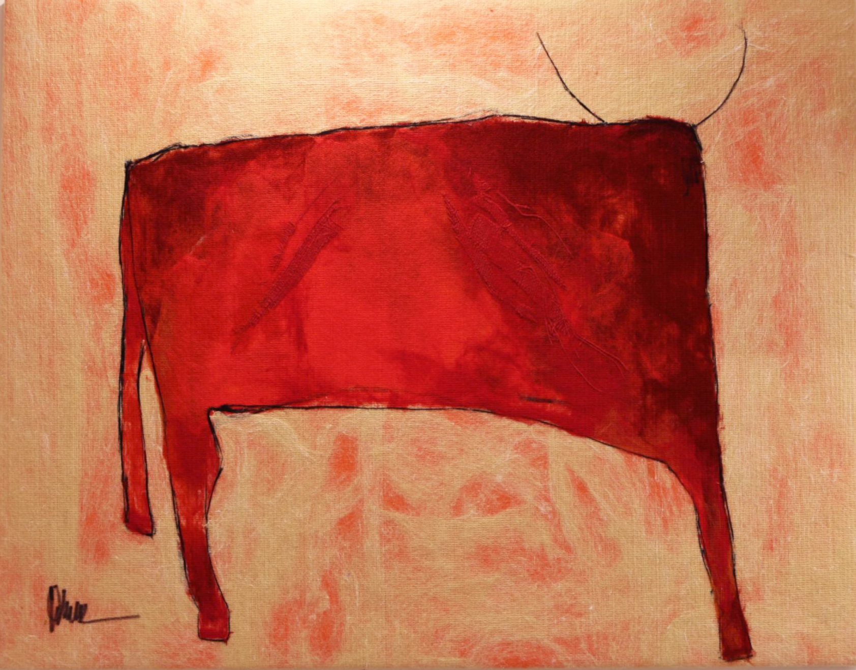 "JOHANAN HERSON   Single Bull II Original Acrylic Fiber | Soft Art 36"" H x 45"" W"