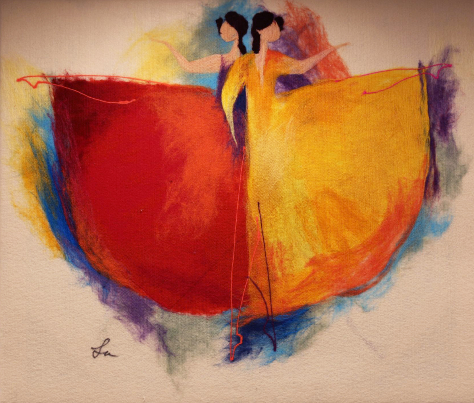 "ELENA YAMPOLSKY   Couple Ballerinas Original Acrylic Fiber | Soft Art 27"" H x 31"" W"