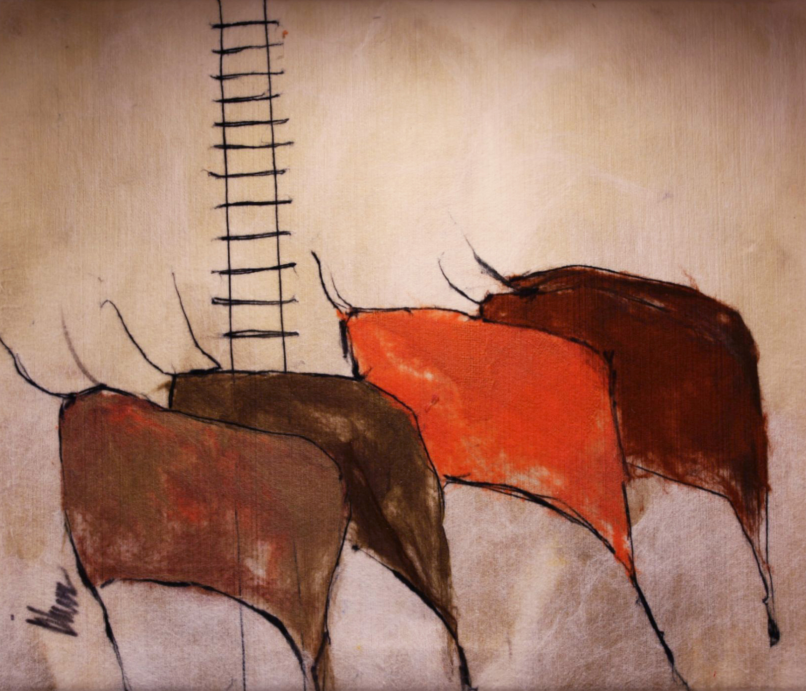 "JOHANAN HERSON   The Herd III Original Acrylic Fiber | Soft Art 28"" H x 33"" W"