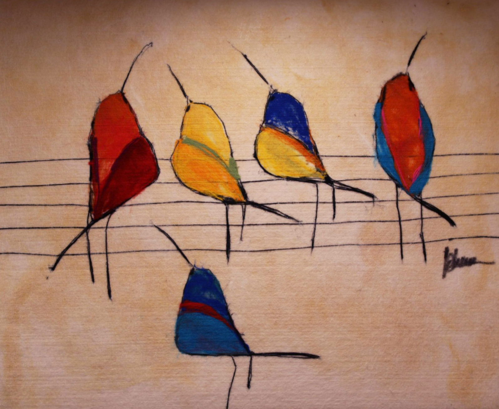 "JOHANAN HERSON   Birds on a Wire II Original Acrylic Fiber Painting | Soft Art 36"" H x 28"" W"