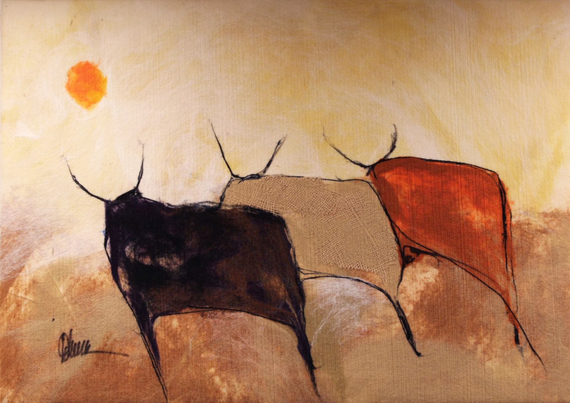 "JOHANAN HERSON   The Herd V Original Acrylic Fiber | Soft Art 24"" H x 45"" W"