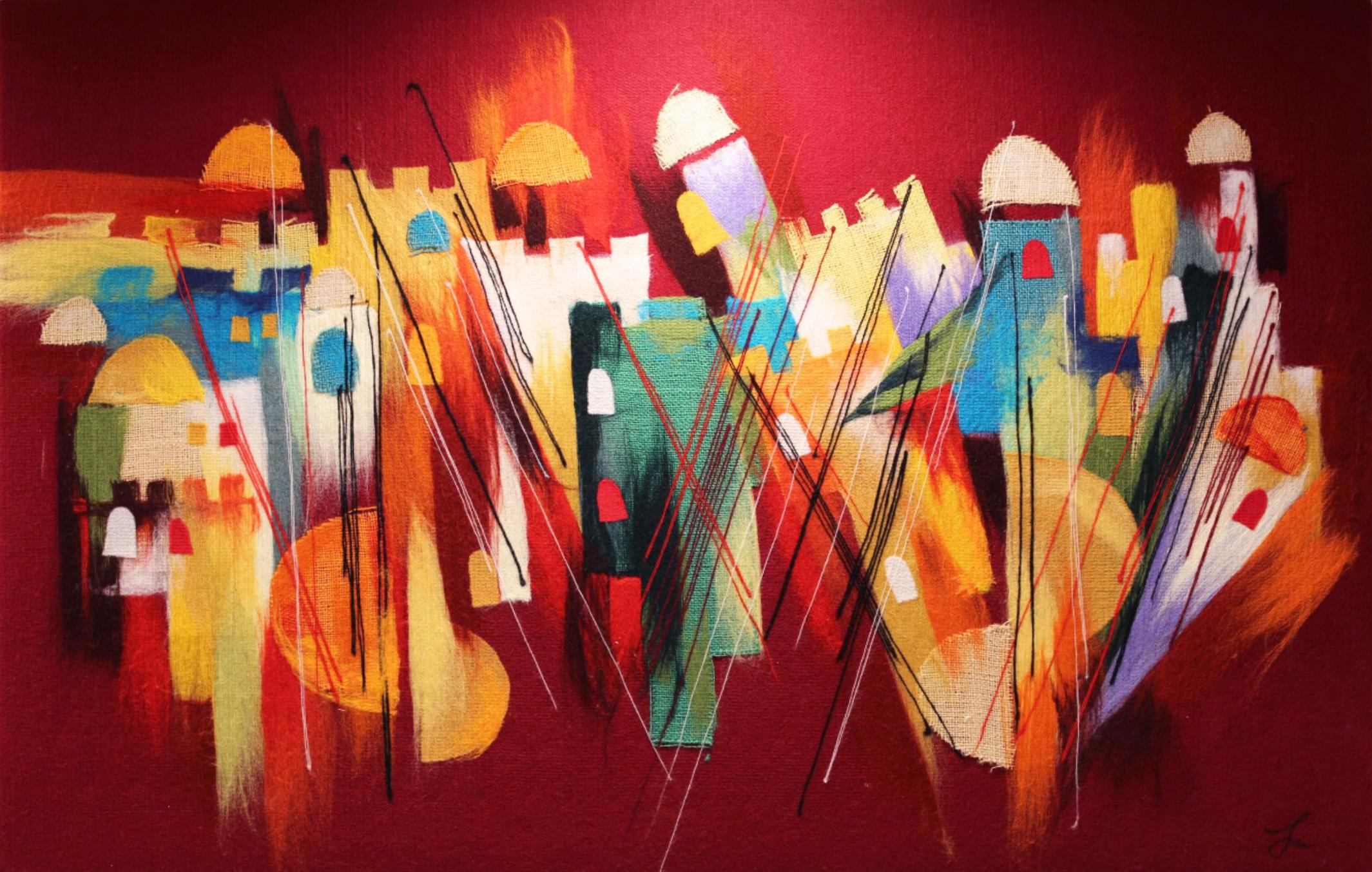 "ELENA YAMPOLSKY   Abstract Jerusalem Original Acrylic Fiber Painting | Soft Art 31"" H x 49"" W"