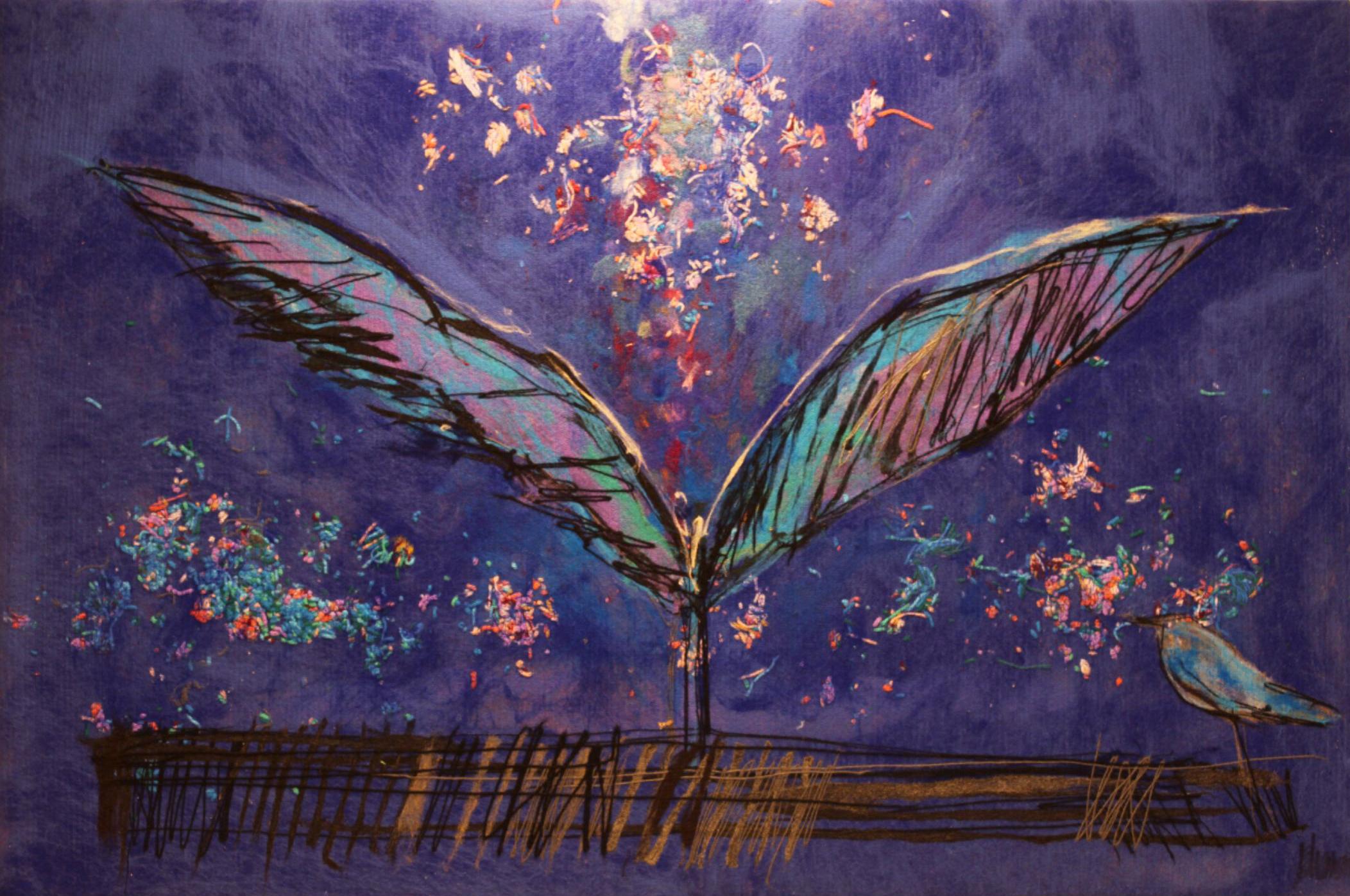 "JOHANAN HERSON   Freedom Bird Original Acrylic Fiber   Soft Art 37"" H x 56"" W"