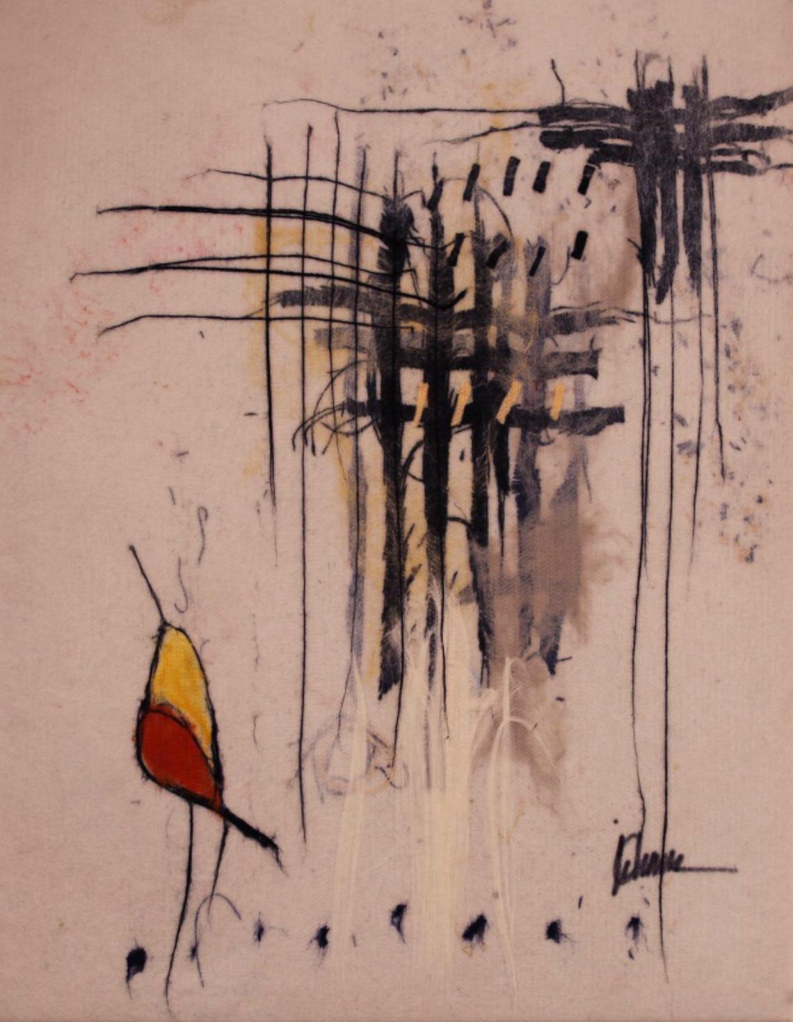 "JOHANAN HERSON   Love Birds III Original Acrylic Fiber   Soft Art 36"" H x 28"" W"