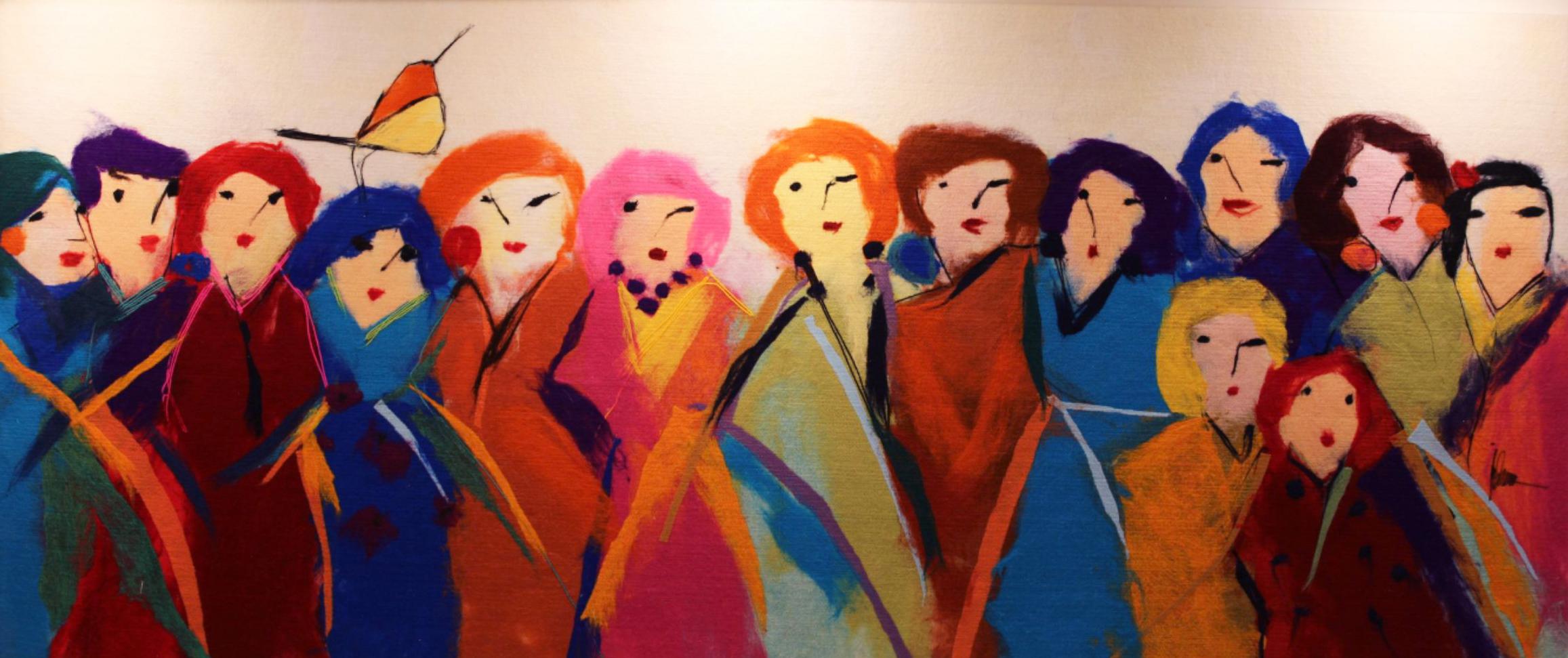 "JOHANAN HERSON   Family Gathering IIII Original Acrylic Fiber   Soft Art 38"" H x 90"" W"