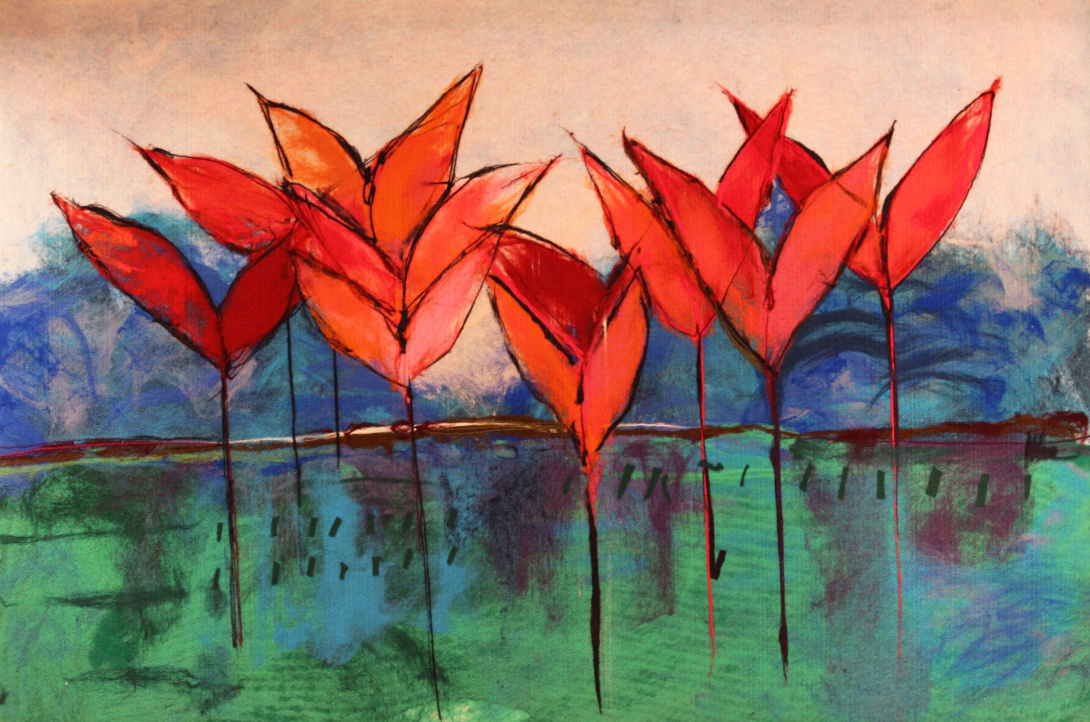 "JOHANAN HERSON   Blossoming Original Acrylic Fiber   Soft Art 35"" H x 53"" W"