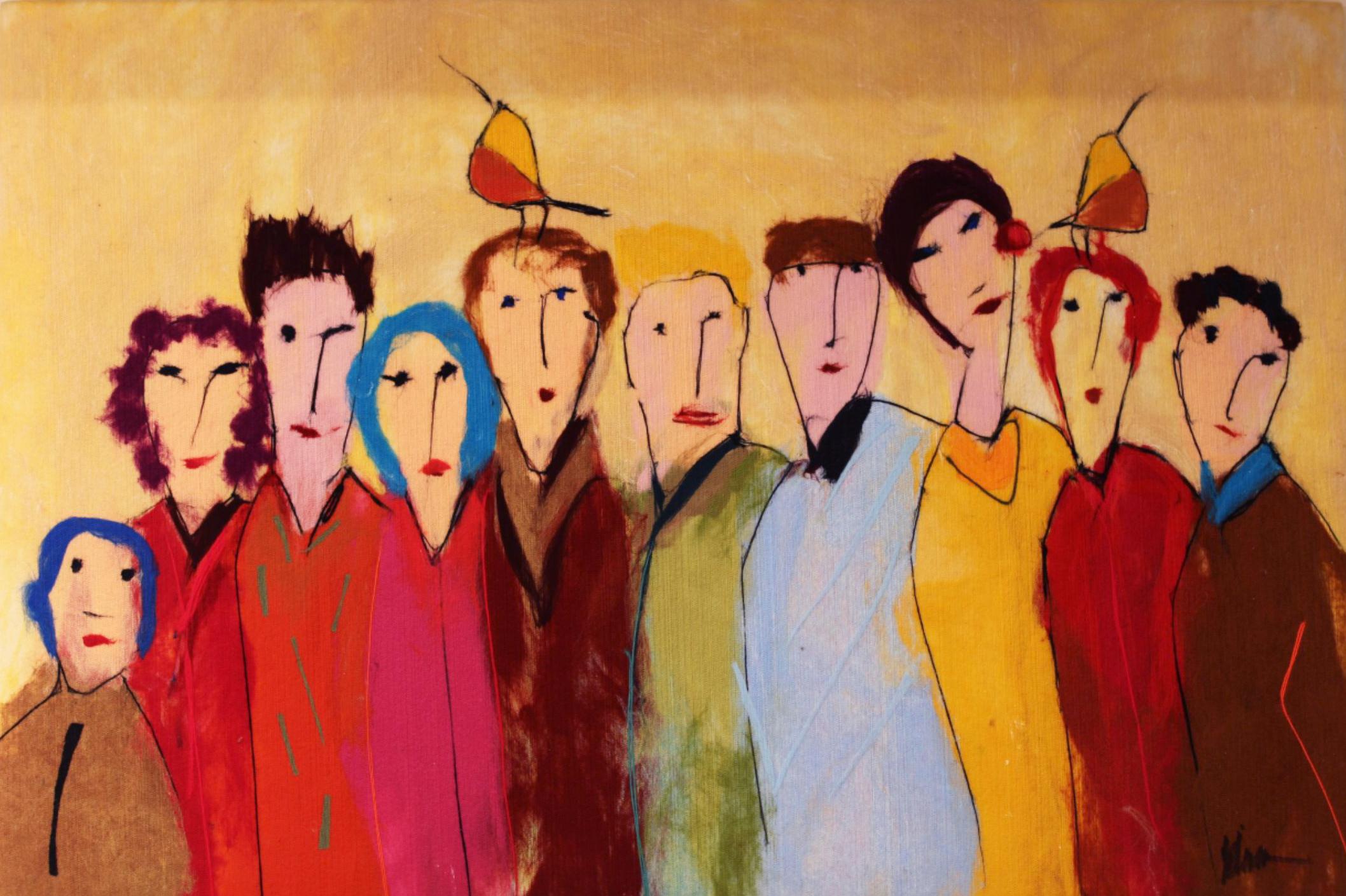 "JOHANAN HERSON   Family Gathering V Original Acrylic Fiber   Soft Art 36"" H x 53"" W"