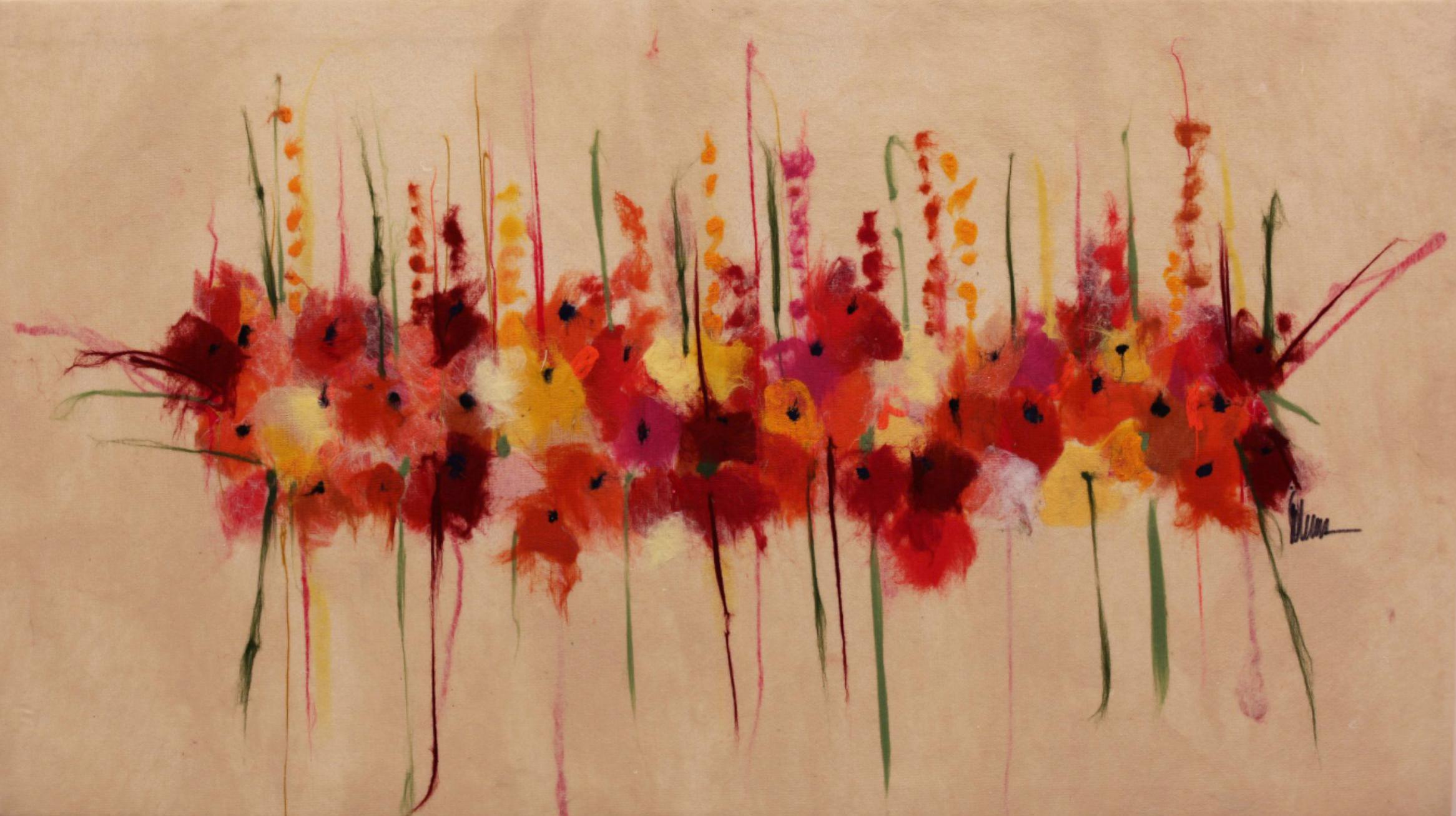 """JOHANAN HERSON   Bouqet IIII Original Acrylic Fiber   Soft Art 36"""" H x 64"""" W"""