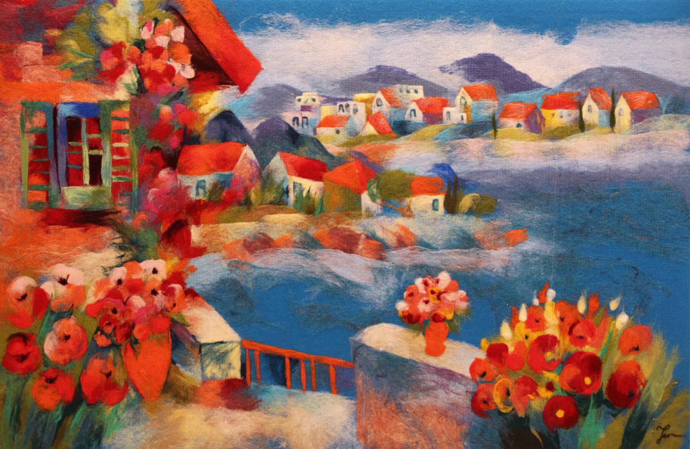 "ELENA YAMPOLSKY   Peace And Quiet Original Acrylic Fiber | Soft Art 38"" H x 57"" W"
