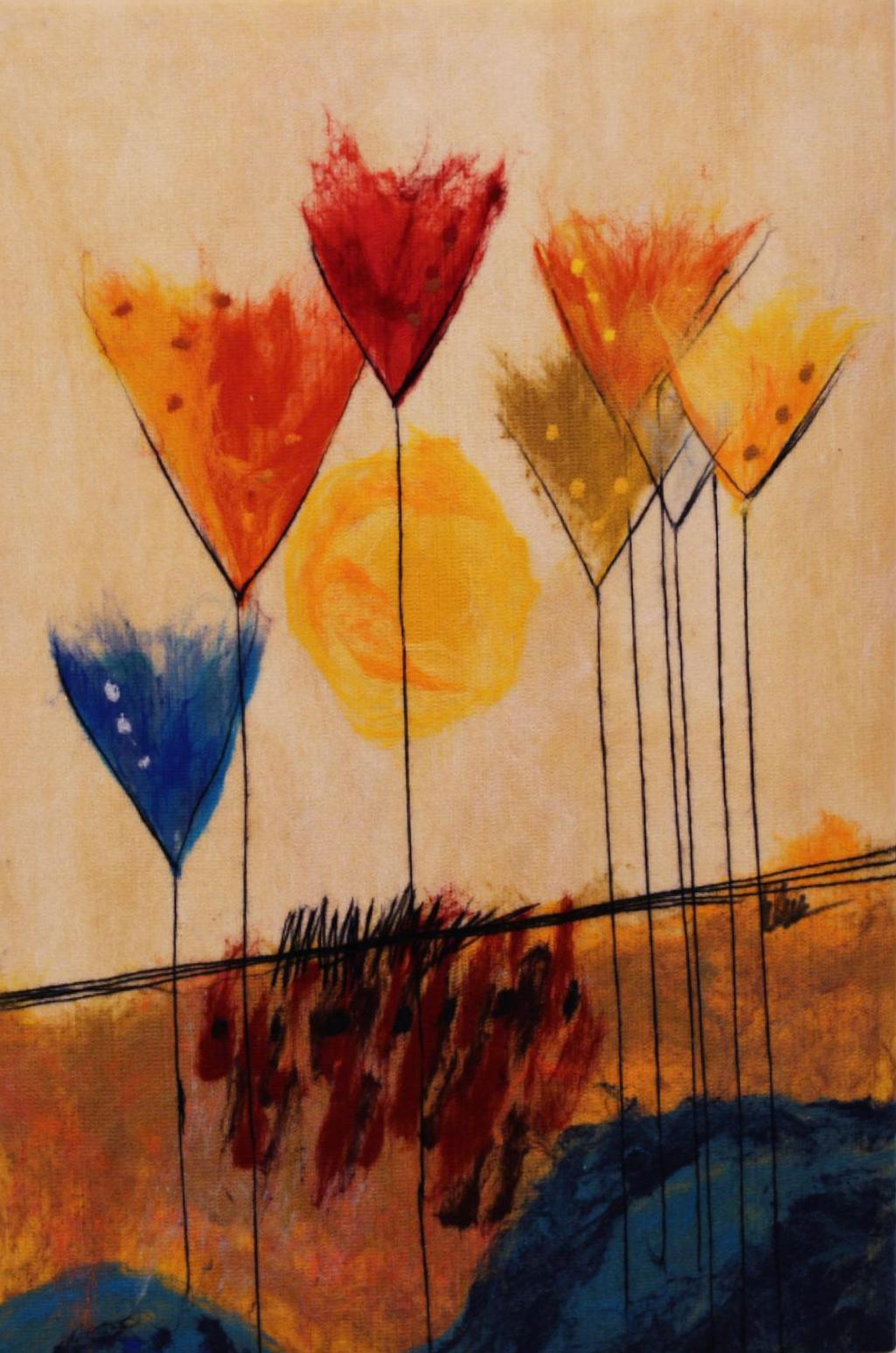 """JOHANAN HERSON   Nature IIII Original Acrylic Fiber   Soft Art 38"""" H x 25"""" W"""