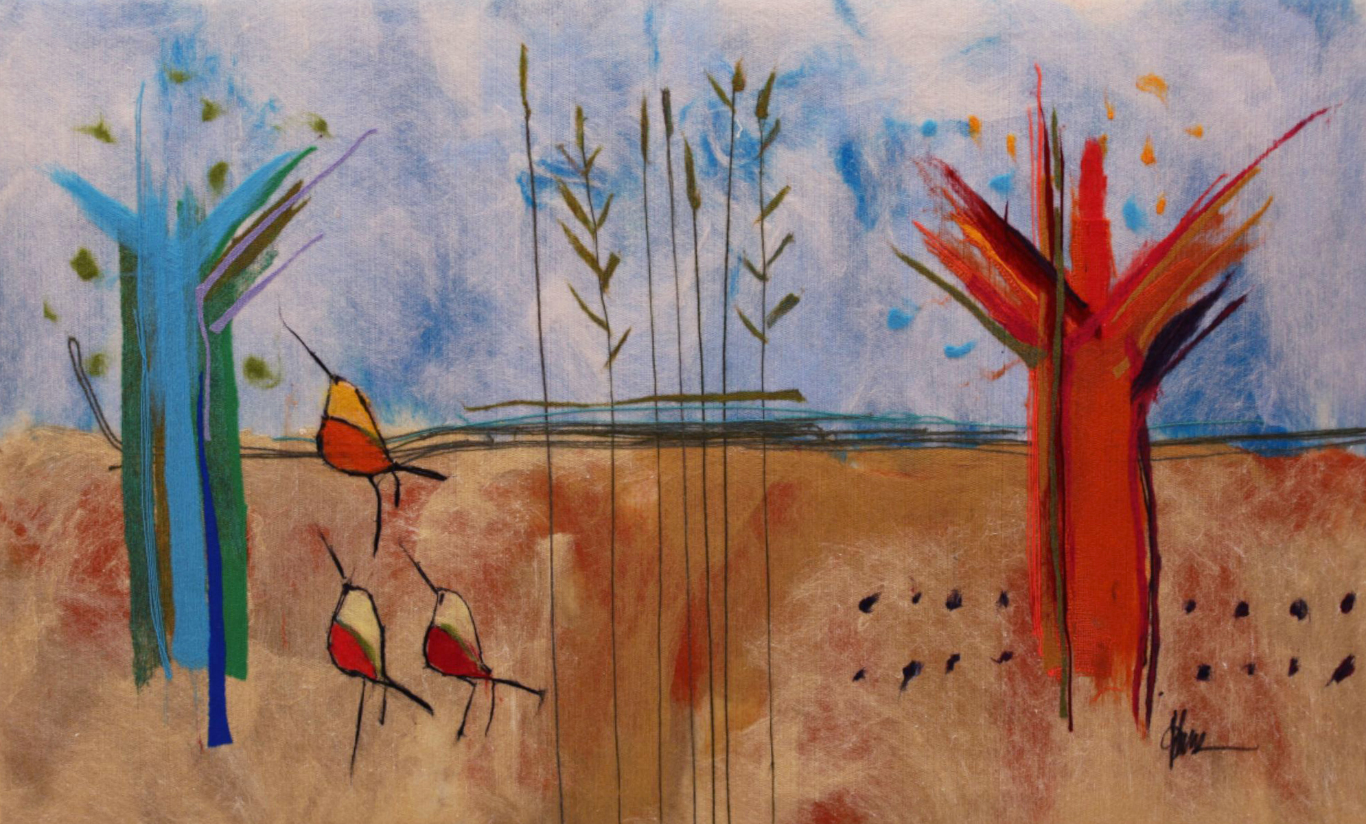 "JOHANAN HERSON   Nature II Original Acrylic Fiber   Soft Art 34"" H x 55"" W"