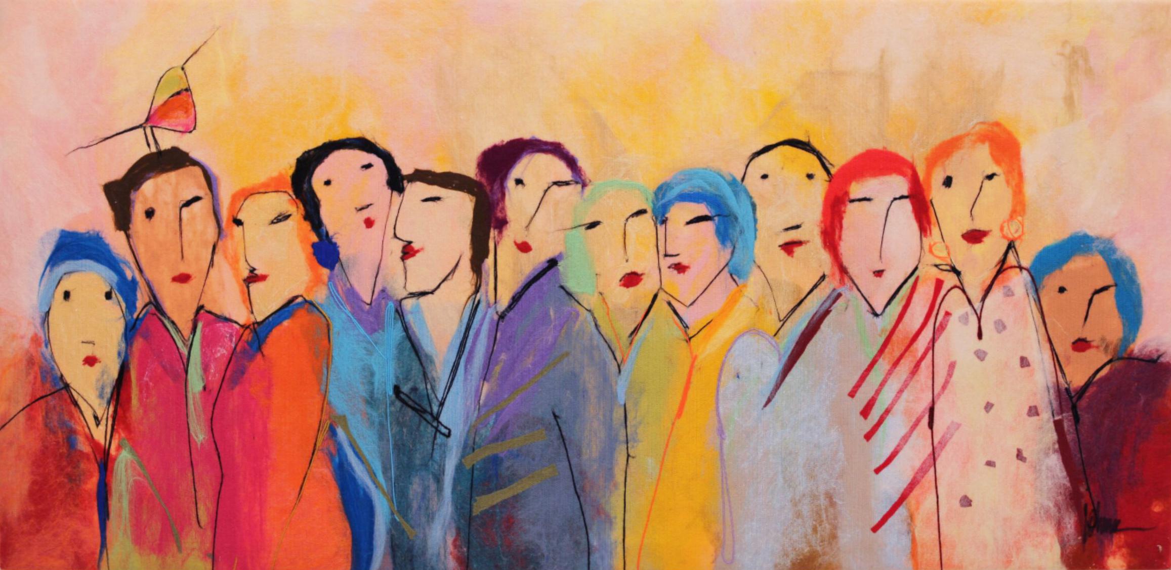 "JOHANAN HERSON   Family Gathering VII Original Acrylic Fiber   Soft Art 34"" H x 69"" W"
