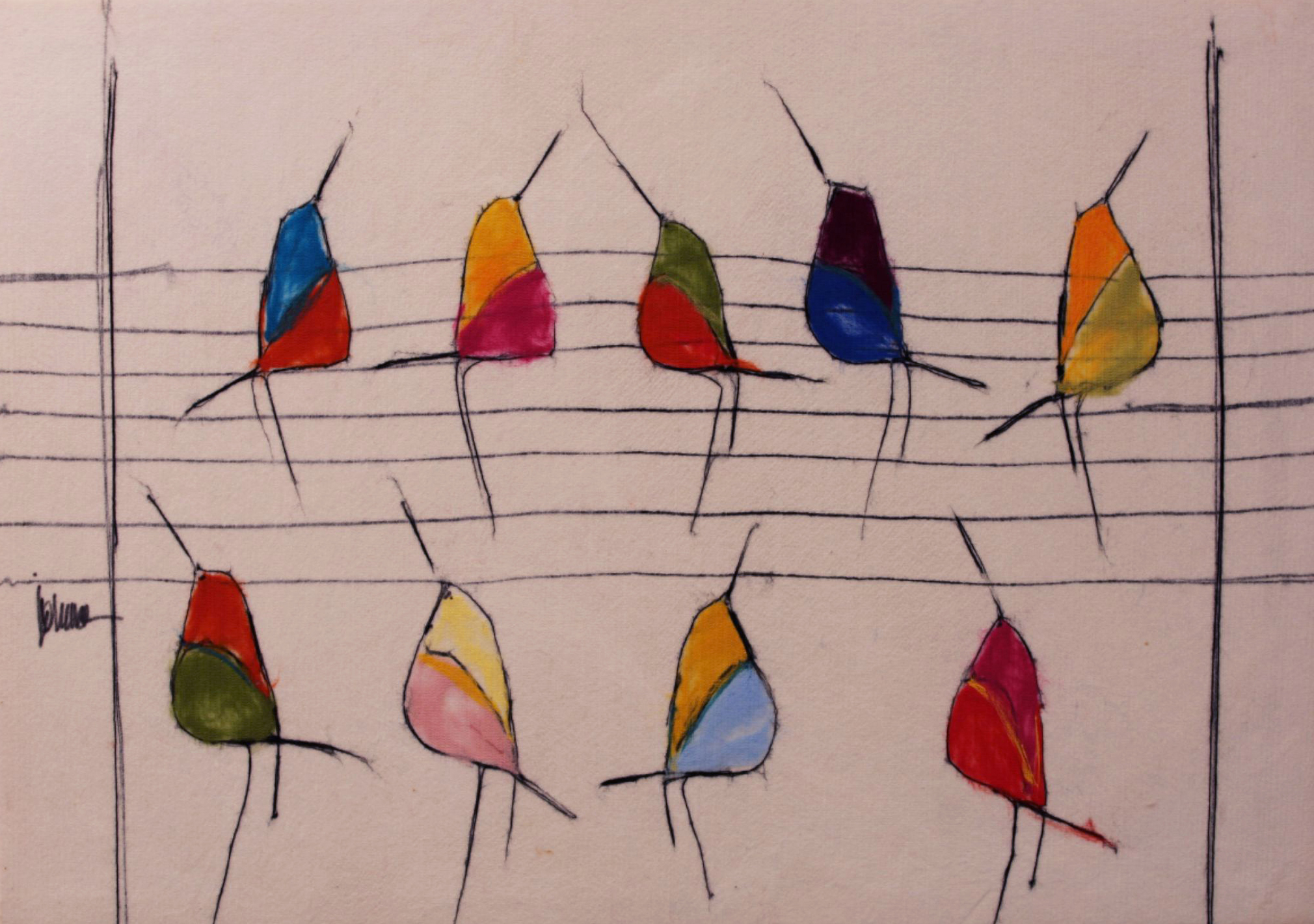 "JOHANAN HERSON   Birds on Wire Original Acrylic Fiber Painting | Soft Art 38"" H x 30"" W"