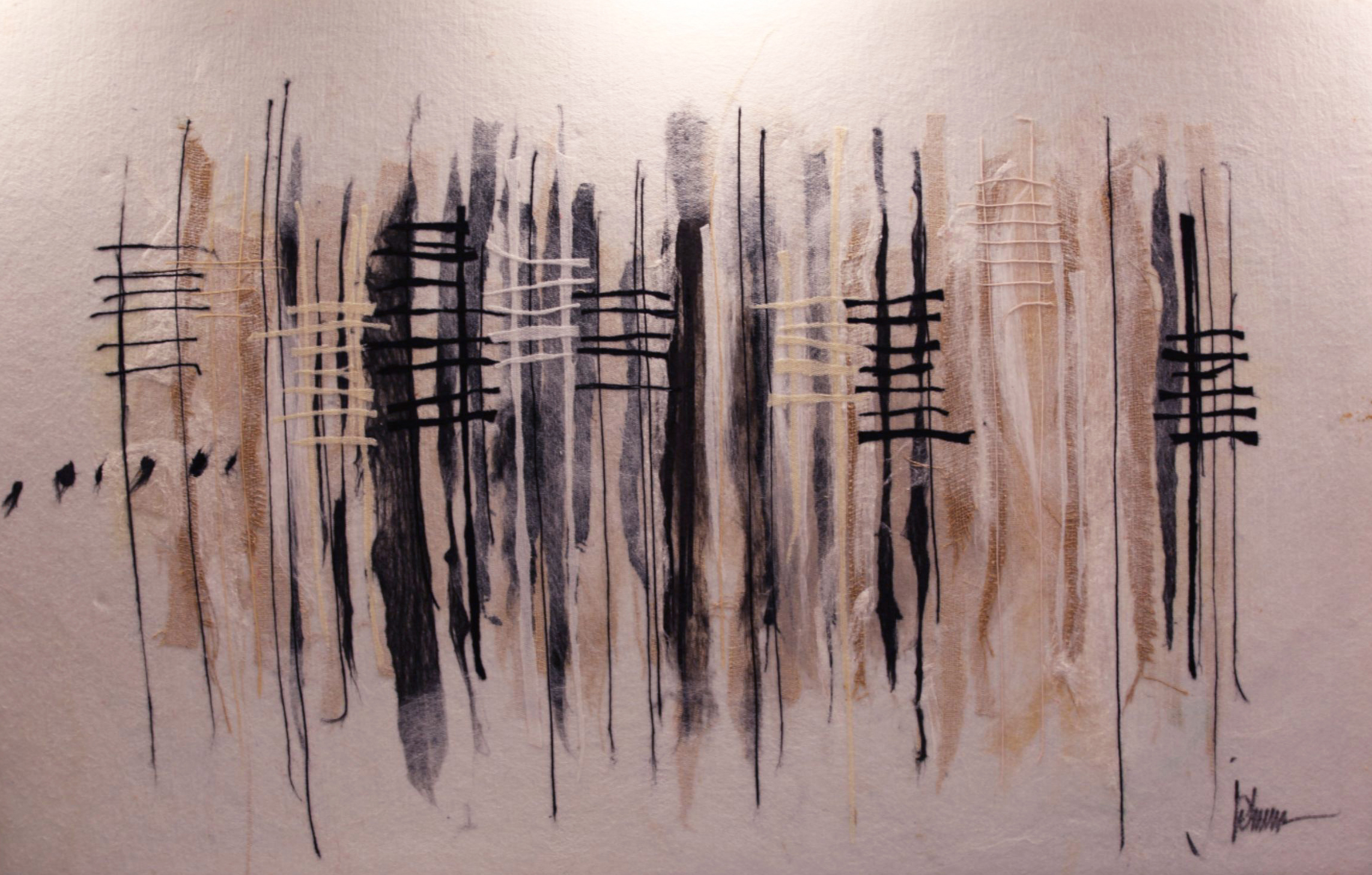 "JOHANAN HERSON   Black and White Original Acrylic Fiber | Soft Art 39"" H x 61"" W"
