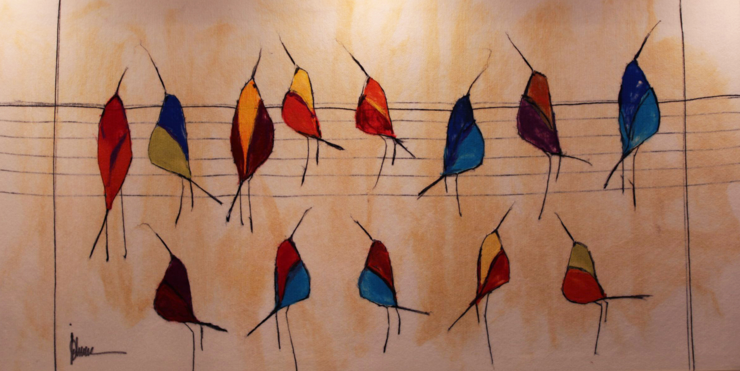"JOHANAN HERSON   Birds on a Wire III Original Acrylic Fiber | Soft Art 39"" H x "" W"