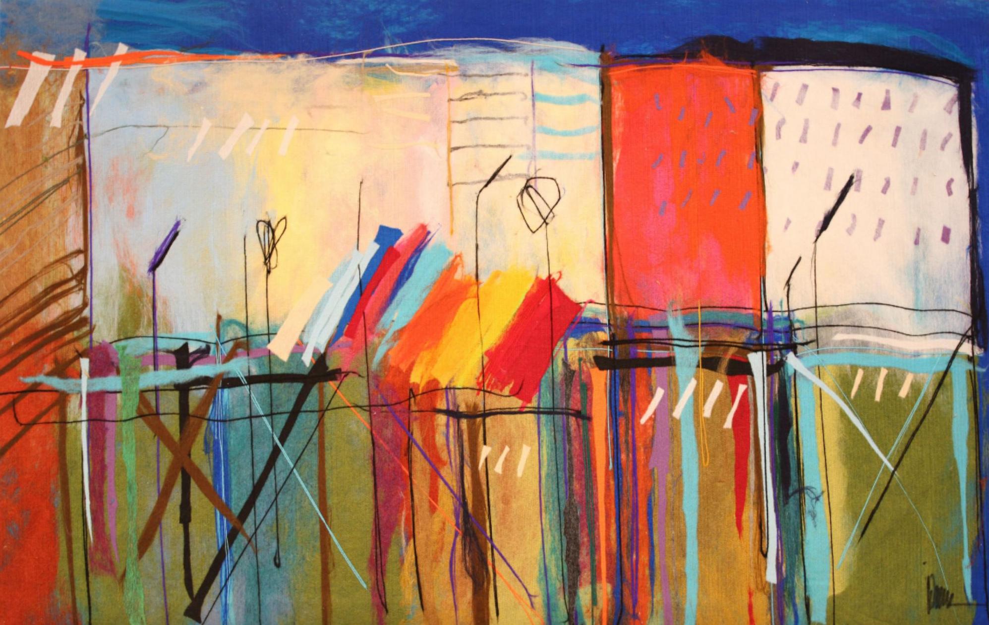 "JOHANAN HERSON   Urban Scenery II Original Acrylic Fiber   Soft Art 59"" H x 37"" W"