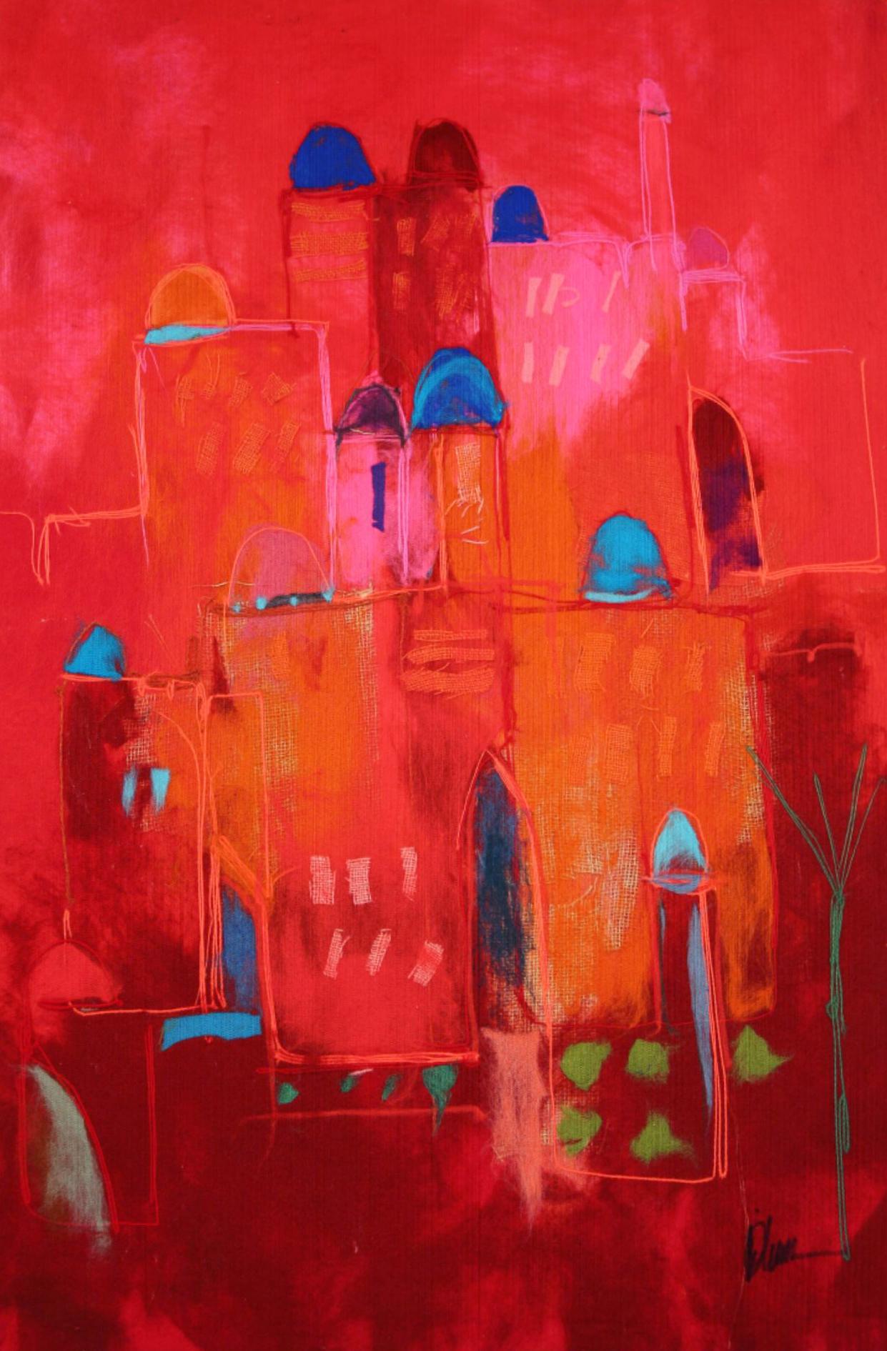 "JOHANAN HERSON   Small Jersulaem Original Acrylic Fiber   Soft Art 50""H X 33""W"