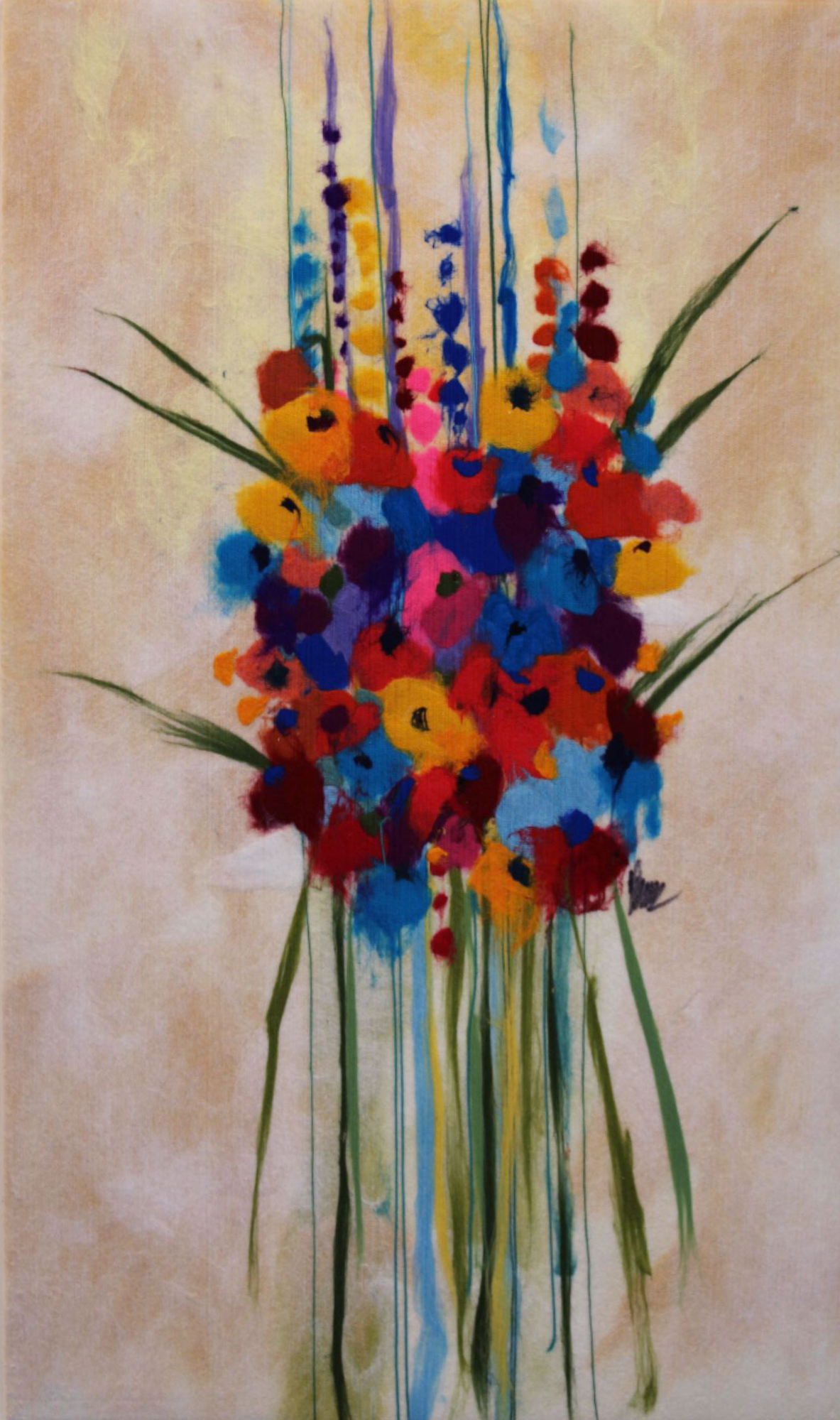 "JOHANAN HERSON   Flowers Original Acrylic Fiber   Soft Art 54"" H x 32"" W"