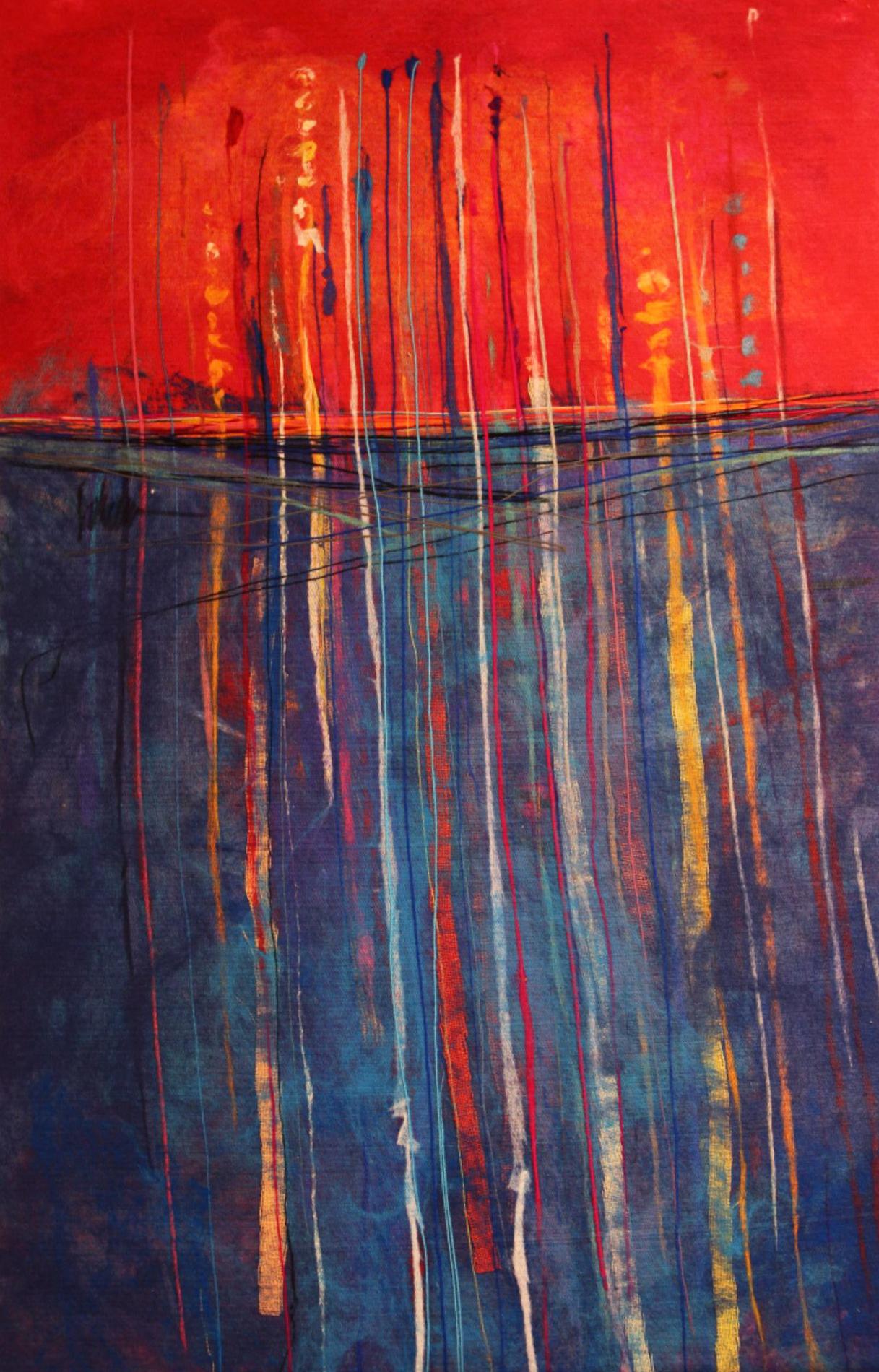 "JOHANAN HERSON   Seaweed Original Acrylic Fiber   Soft Art 51"" H x 34"" W"