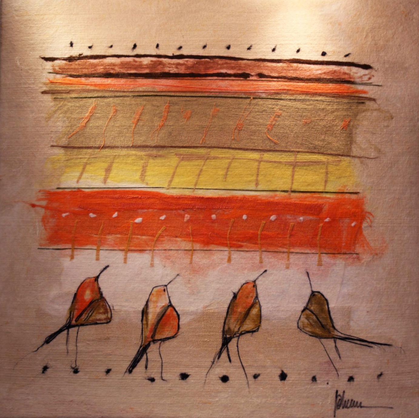 "JOHANAN HERSON   Freedom Bird II Original Acrylic Fiber   Soft Art 46"" H x 46"" W"