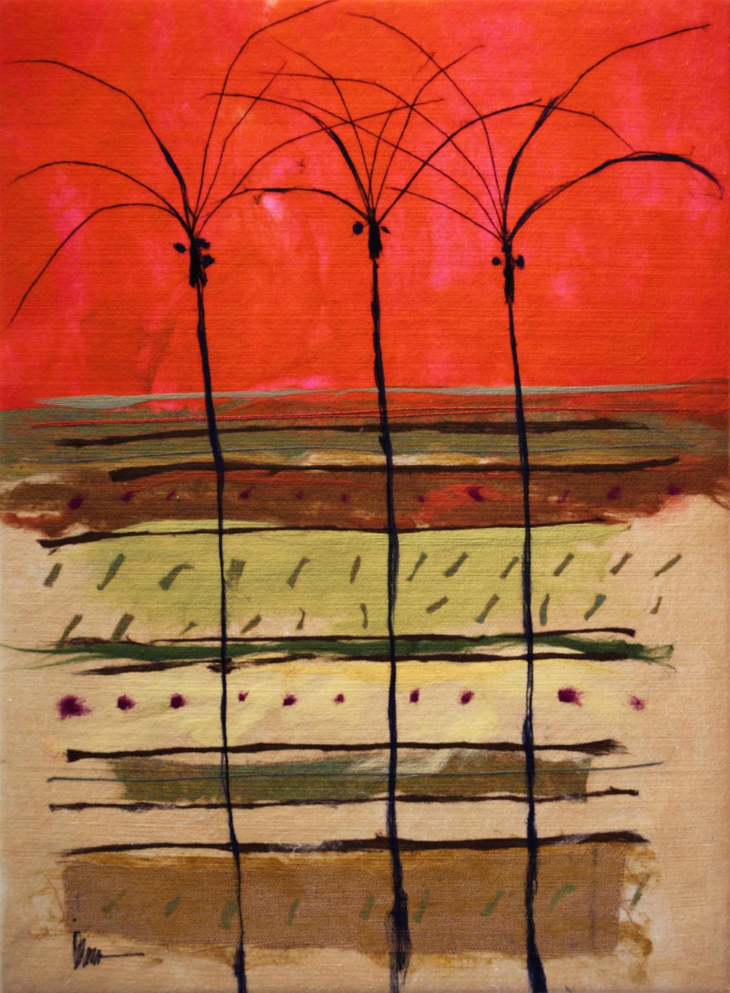 "JOHANAN HERSON   Palms Original Acrylic Fiber   Soft Art 51"" H x 38"" W"