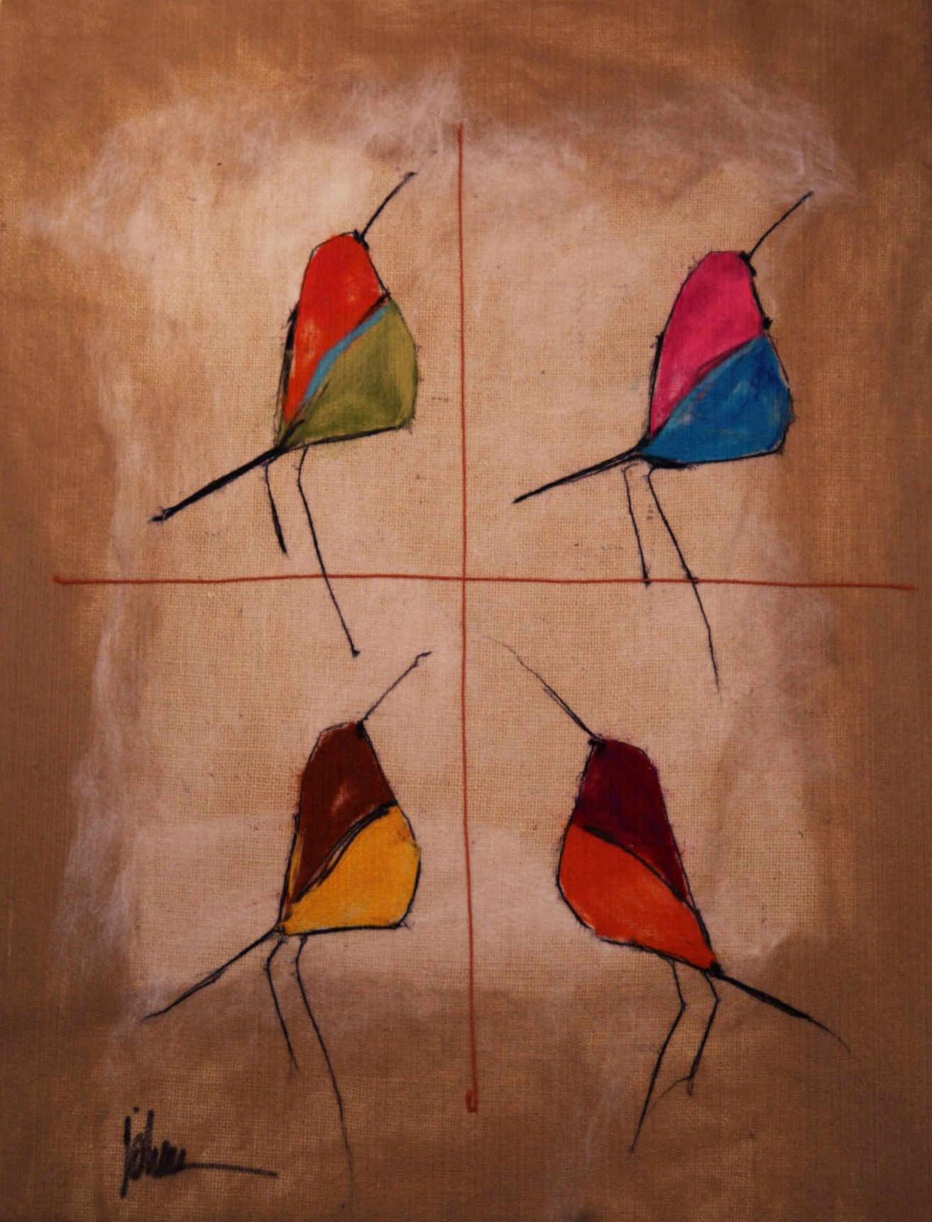 "JOHANAN HERSON   Song Birds III Original Acrylic Fiber | Soft Art 36"" H x 28"" W"
