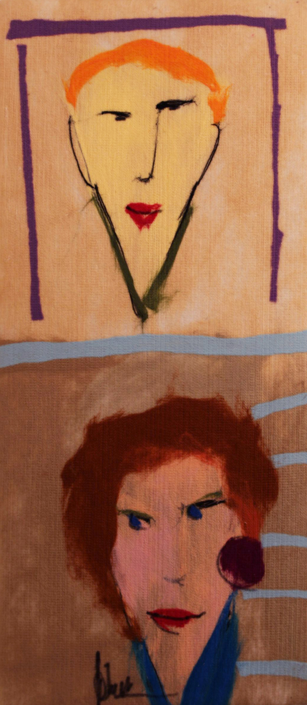 "JOHANAN HERSON   Characters Original Acrylic Fiber   Soft Art 36"" H x 16"" W"