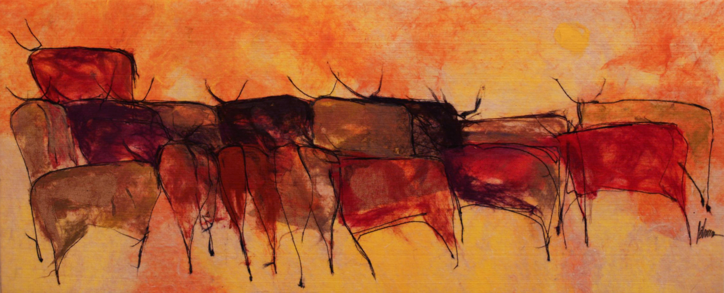 "JOHANAN HERSON   Bulls Scene Original Acrylic Fiber   Soft Art 32"" H x 79"" W"