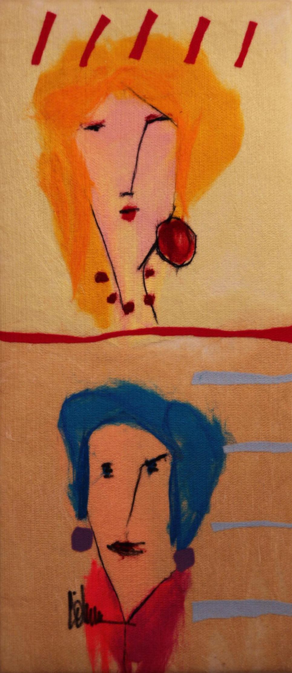 "JOHANAN HERSON   Present & Future Original Acrylic Fiber   Soft Art 35"" H x 16"" W"