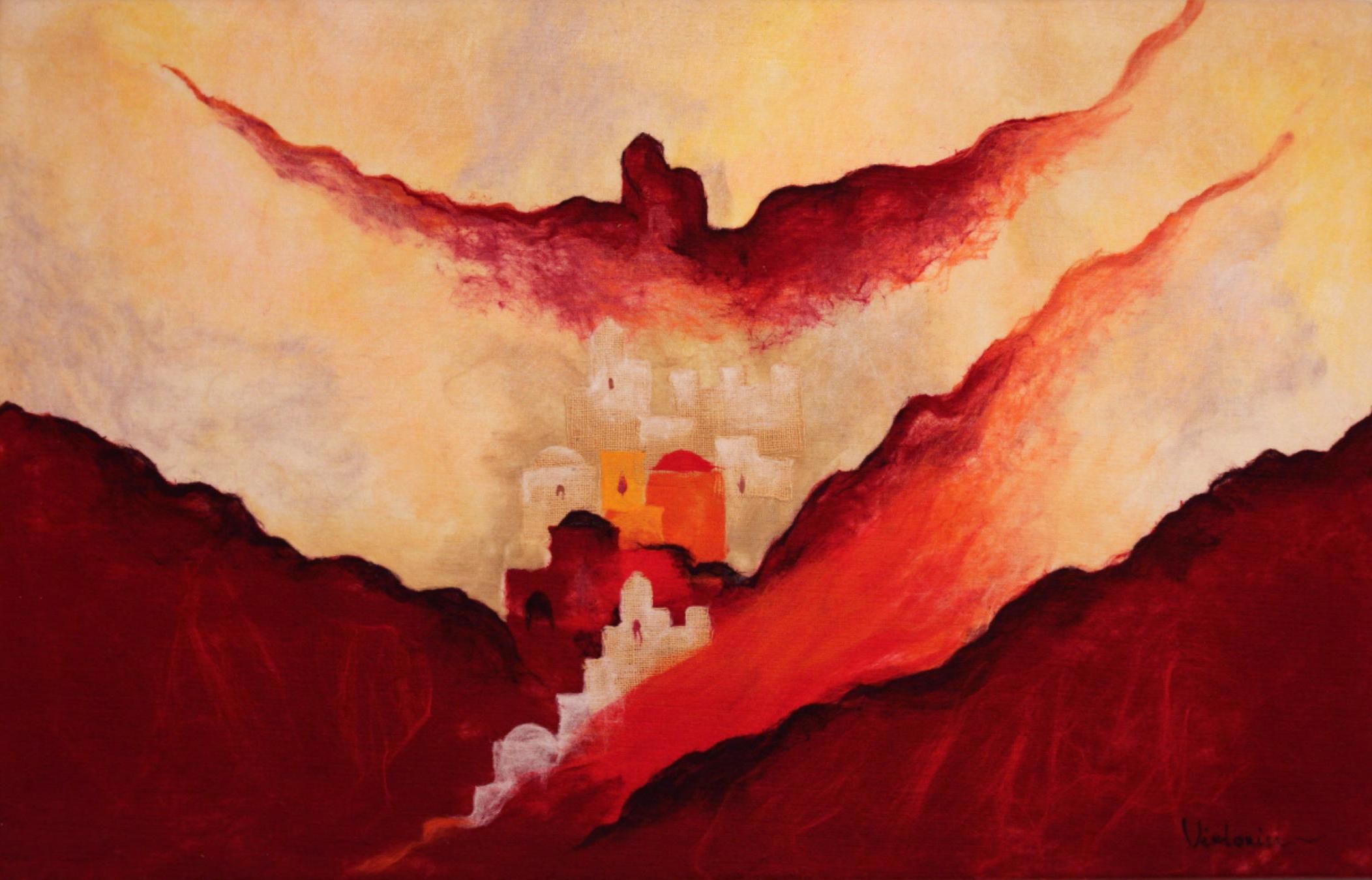 "JOHANAN HERSON   Red Jerusalem Original Acrylic Fiber   Soft Art 35"" H x 55"" W"