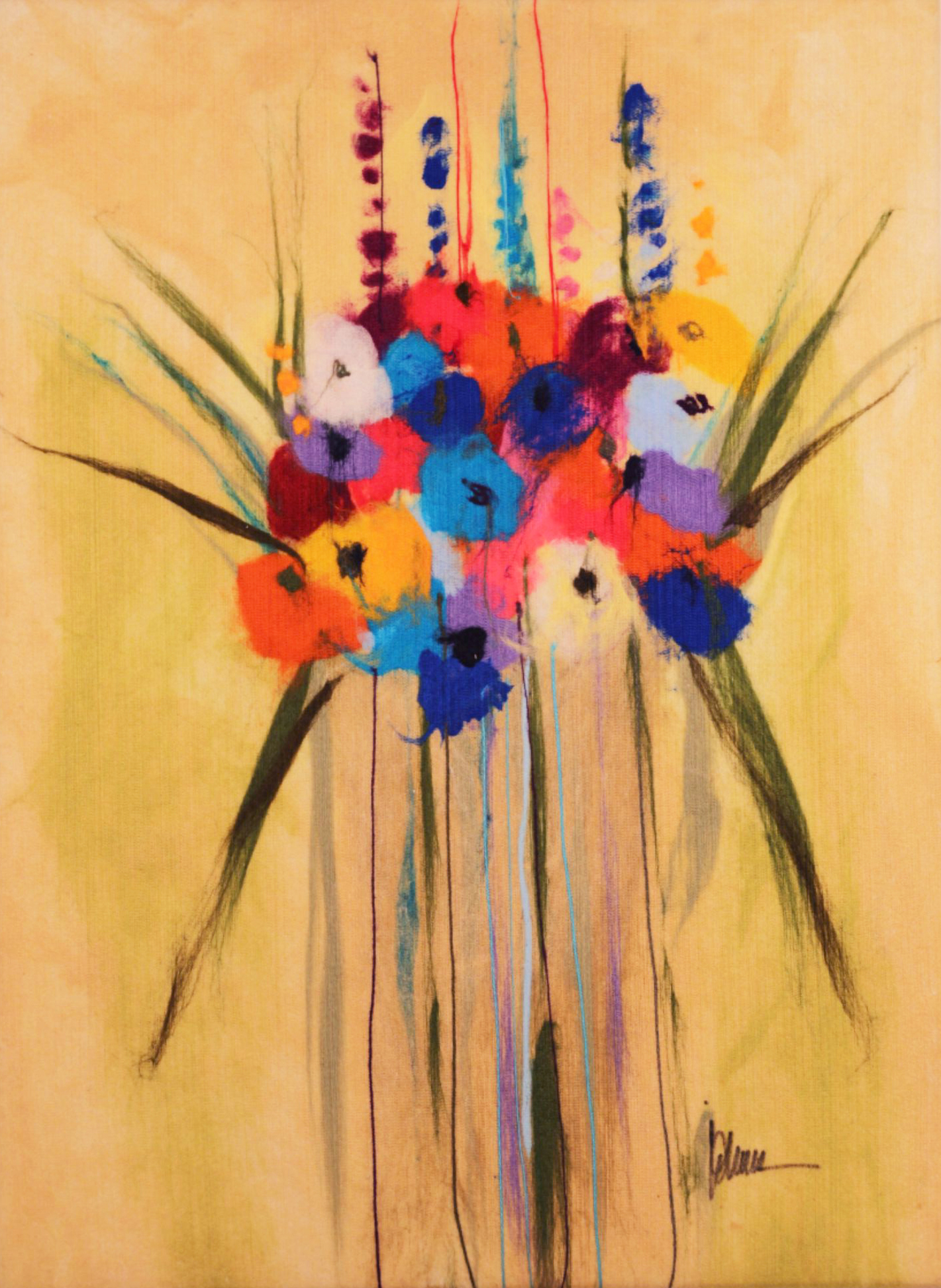 "JOHANAN HERSON   Flowers III Original Acrylic Fiber   Soft Art 36"" H x 26"" W"