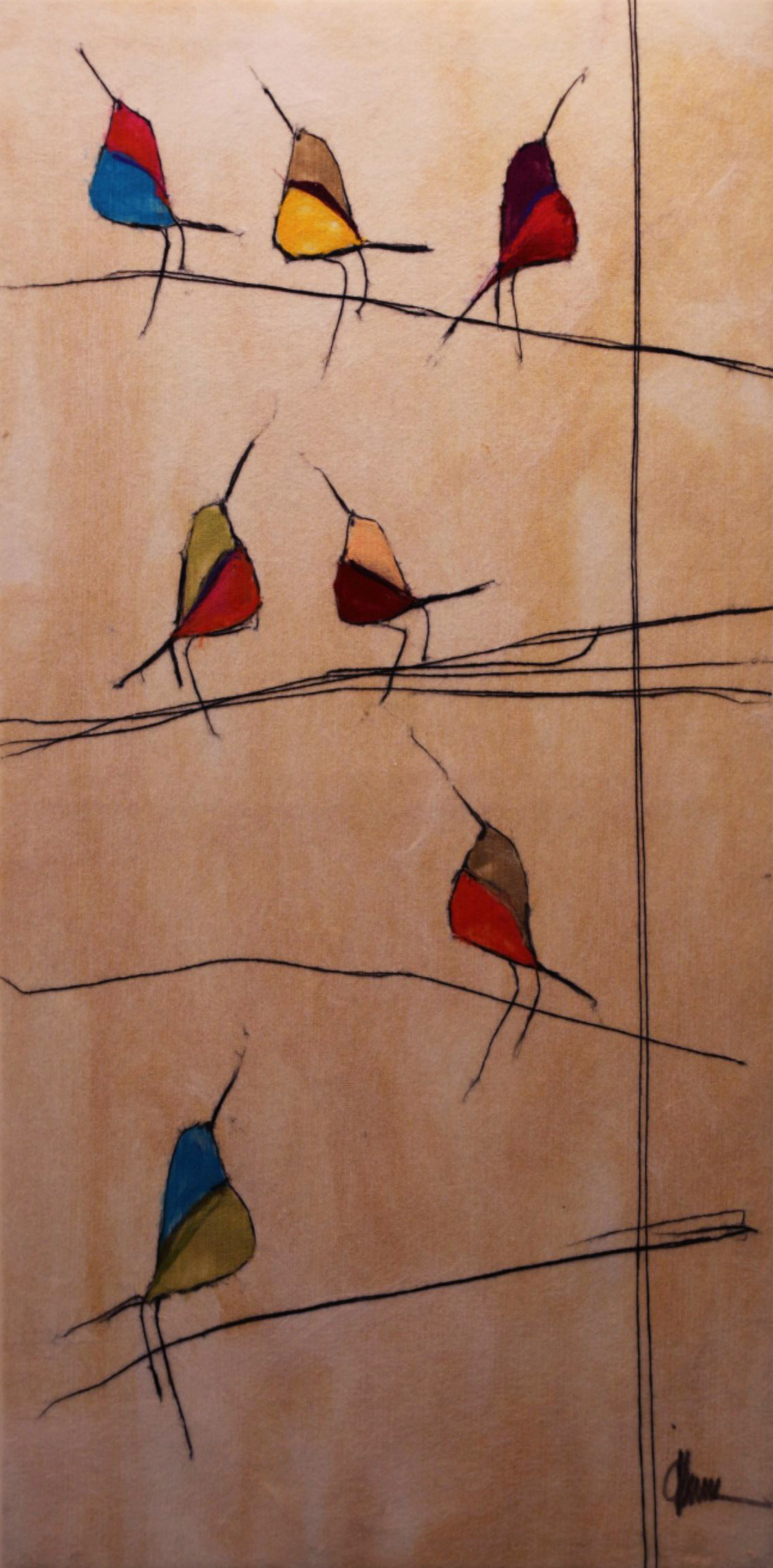 "JOHANAN HERSON   Birds on a Branch III Original Acrylic Fiber | Soft Art 77"" H x 39"" W"