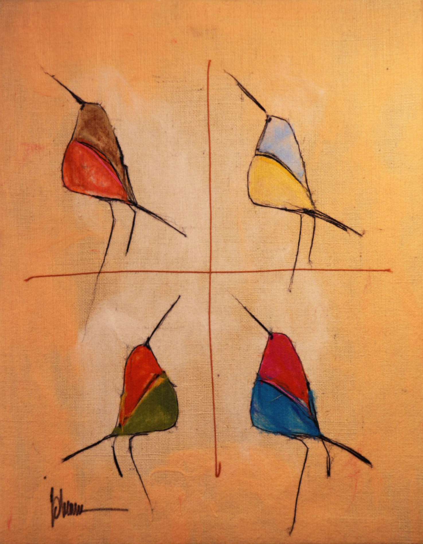 "JOHANAN HERSON   Song Birds II Original Acrylic Fiber | Soft Art 36 H x 28"" W"