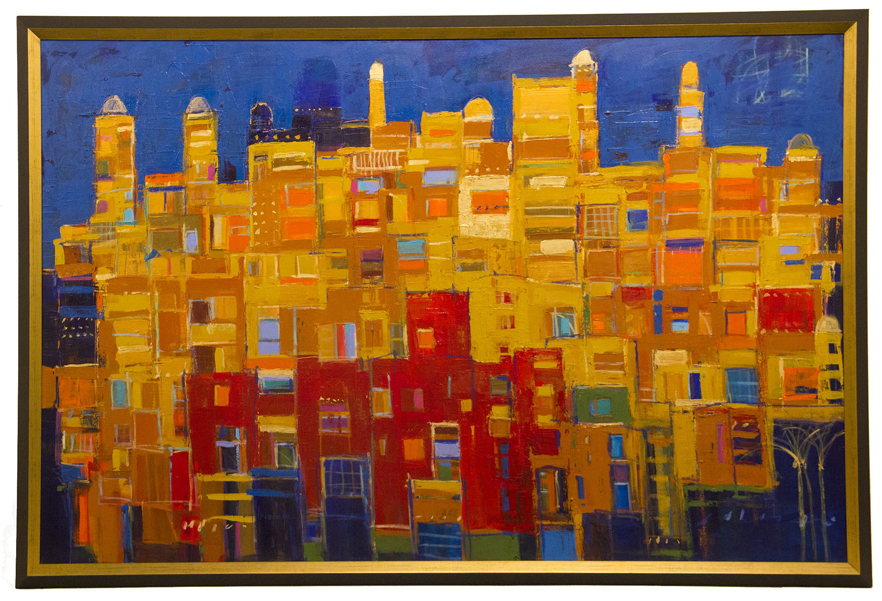 "JOHANAN HERSON   Blue Jerusalem Original Oil 45"" H x 68"" W"