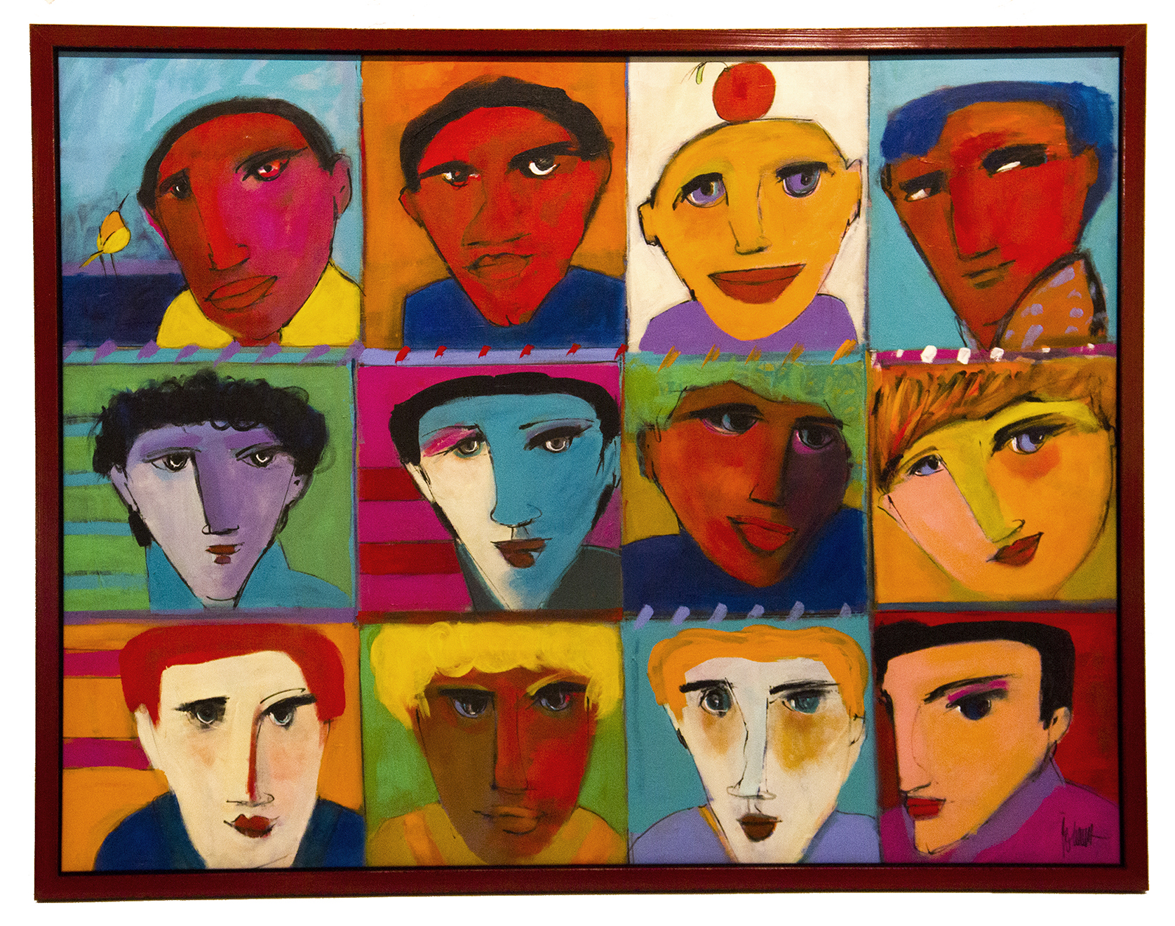 "JOHANAN HERSON   Faces of Men Original Oil 39"" H x 50"" W"